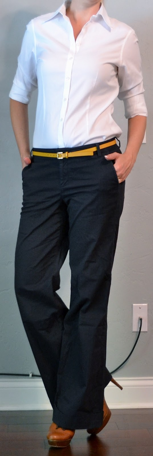 Outfit Posts: outfit post: white button down, yellow belt, navy pants