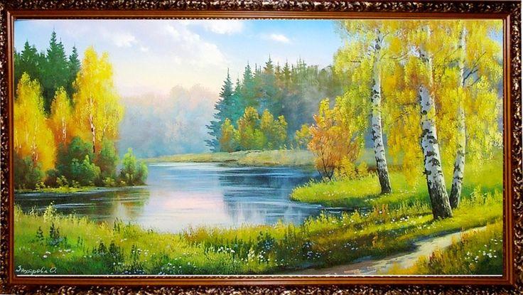 Подарки и сувениры: Осенью на озере в лесу - Осенний пейзаж <- Картины...