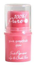 100% Pure Pink Grapefruit Glow - Lip and Cheek Tint by 100% Pure. $13.46. Gluten Free. Net wt. 0.26 oz / 7.5 g. 100% Vegetarian. 100% Natural. 100% Natural formula was designed to be used as a cream blush and a lip tint. Pure fruit pigments in a base of skin and lip softening and moisturizing shea and cocoa butters. Highly concentrated with anti-aging vitamins and antioxidants.  Ingredients: Fruit pigments of all or some of the following : Plum, Pomegranate, Red wine, Cranberr...