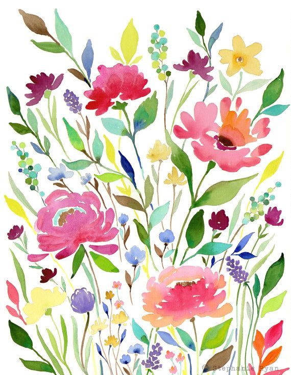 Art Print Let your Garden Grow by Stephanie Ryan - $22. Etsy  ***As you are learning, just practice painting 1 or 2 of these flowers ***
