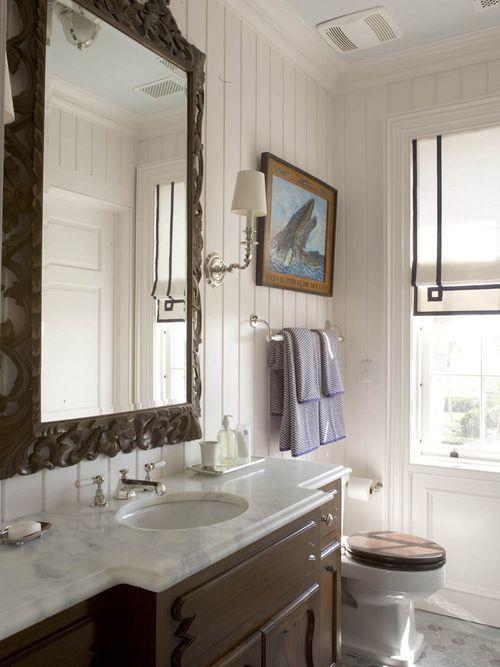 : Mirror, Modern Bathroom Design, Romans Shades, Wood Vanities, Toilets Seats, Interiors Design, Dark Wood, Bathroom Ideas, Wood Wall