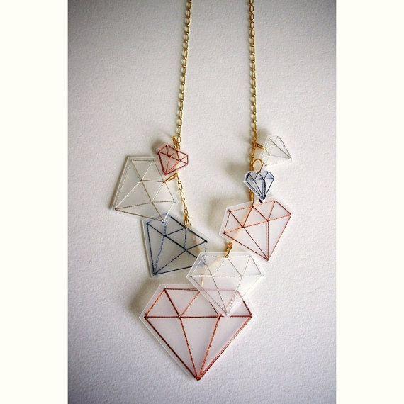 Metallic Diamond Embroidery Necklace by NikalaJayne on Etsy