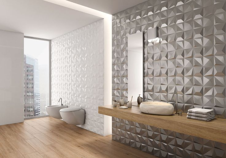 Very modern bathroom with 3D wall tiles from Solus Ceramics' amazing Dimensional range.
