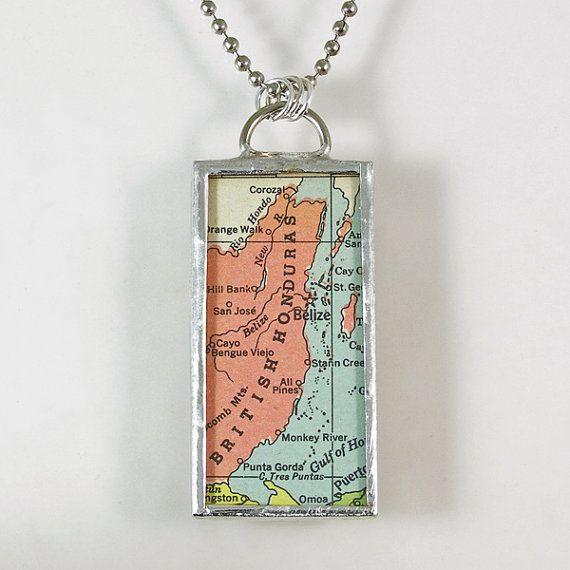 Belize Vintage Map Pendant Necklace by XOHandworks $20