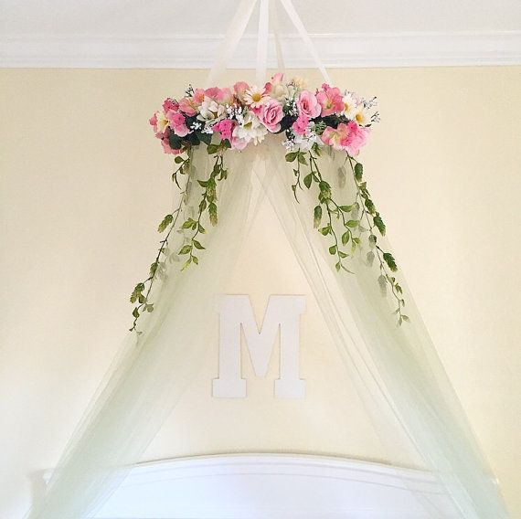 Floral nursery canopy by MimosBoutique on Etsy