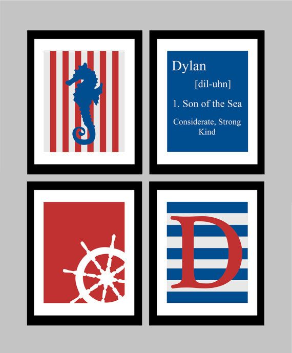 """Personalize your own custom wall prints!    Here we have a set of four original 8x10 nautical themed wall prints, available by custom order. Tell me your child's name in the """"note to seller"""" section to have his/her very own baby name definition print made, as well as a custom initial print! Here you see the print in red and blue, but I can make it in any colour you would like to match your child's bedroom!"""