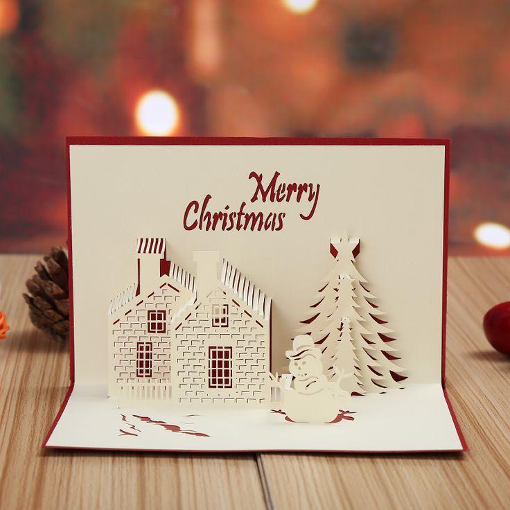 クリスマスカード3dポップアップメリークリスマスシリーズサンタの手作りカスタム挨拶カードクリスマスギフトお土産ポストカード.jpg (800×800)