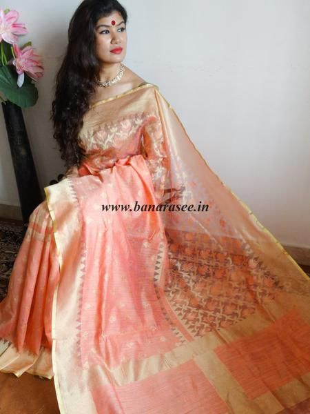 Banarasee/Banarasee Handwoven Half & Half Tissue Saree-Peach & Gold