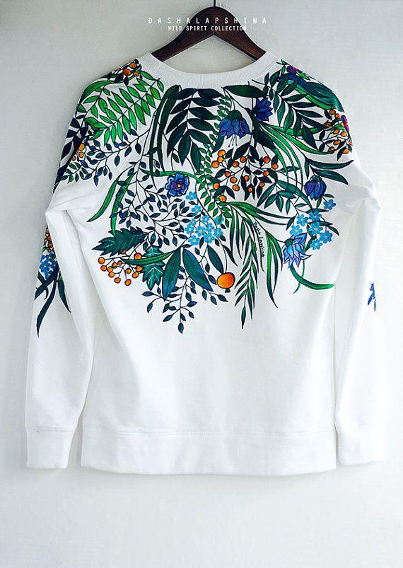 Hand painted White Floral Nature Women Sweatshirt with flowers: Botanic Garden