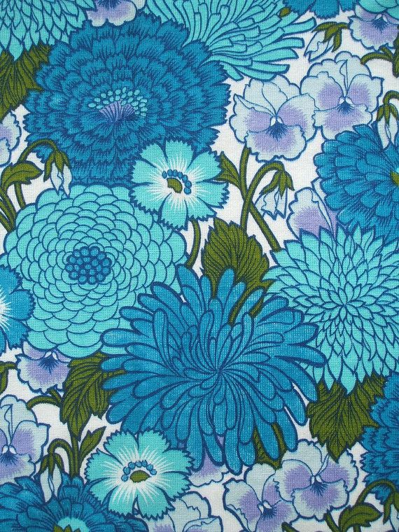 Vintage 60s 70s Flower Power Fabric In Cobalt Blue And