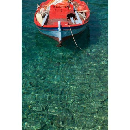 Greece Ionian Islands Kefalonia Fishing Boat Canvas Art - Walter Bibikow DanitaDelimont (19 x 28)