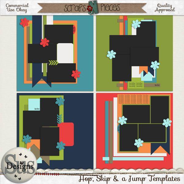 Hop, Skip & a Jump templates #SusDesigns #DigiScrap #Scrapbook #ScrapsNPieces