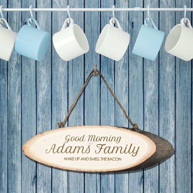 Personalised Good Morning Family Wooden Sign - Family Gift - Kitchen Decor by KiddiClub on Etsy