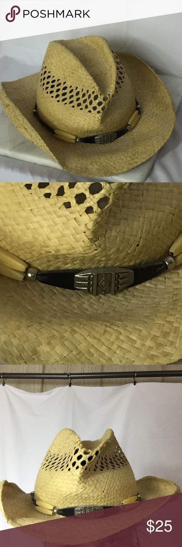 Stetson Straw Hat Trimmed with a faux leather wrap with faux bone and silver medallion. Well worn Some broken straw on the crown as pictured.  Hang Stetson Accessories Hats