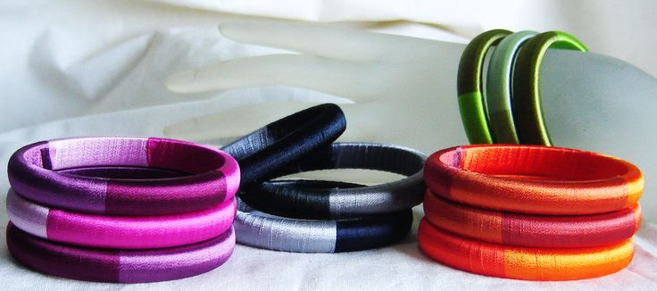 Hand wrapped silk thread bangle set of 3 by Thonghattha