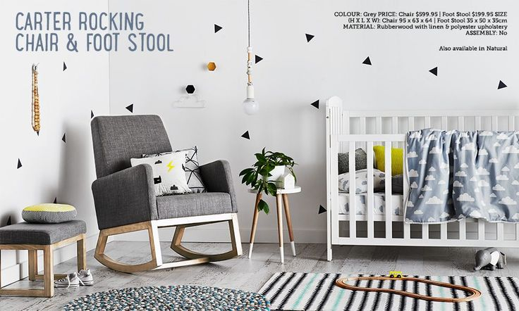 Adairs | Carter rocking chair in grey. 599.95AUD
