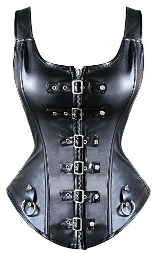 nice LovelyFish Women's Steampunk Artificial Leather Shoulder Straps Zipper and Buckle Overbust Corset Black Large