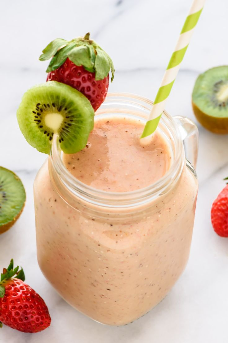 Strawberry Kiwi Smoothie — a simple, delicious healthy smoothie recipe. Loaded with vitamin C, it's a natural cold remedy too!