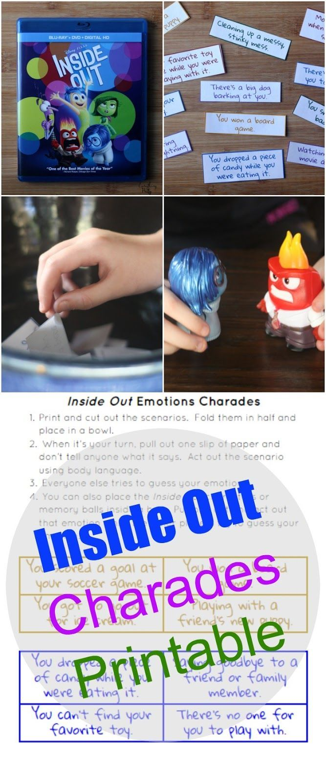 Teaching emotions to children with autism with Inside Out charades.  Includes a free printable. #InsideOutEmotions [ad] via www.yourbeautyblog.com