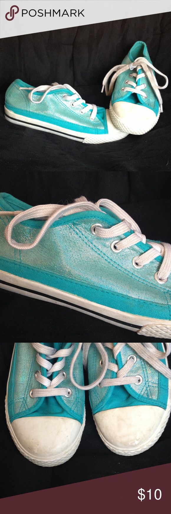 Disney Liv & Maddie shoes Disney Liv and Maddie, converse style shoes, size 1sparkly blue sides, non marking bottoms, a little wear on the white tops an laces could be corrected with a lil bleach water besides that great condition Disney Shoes Sneakers