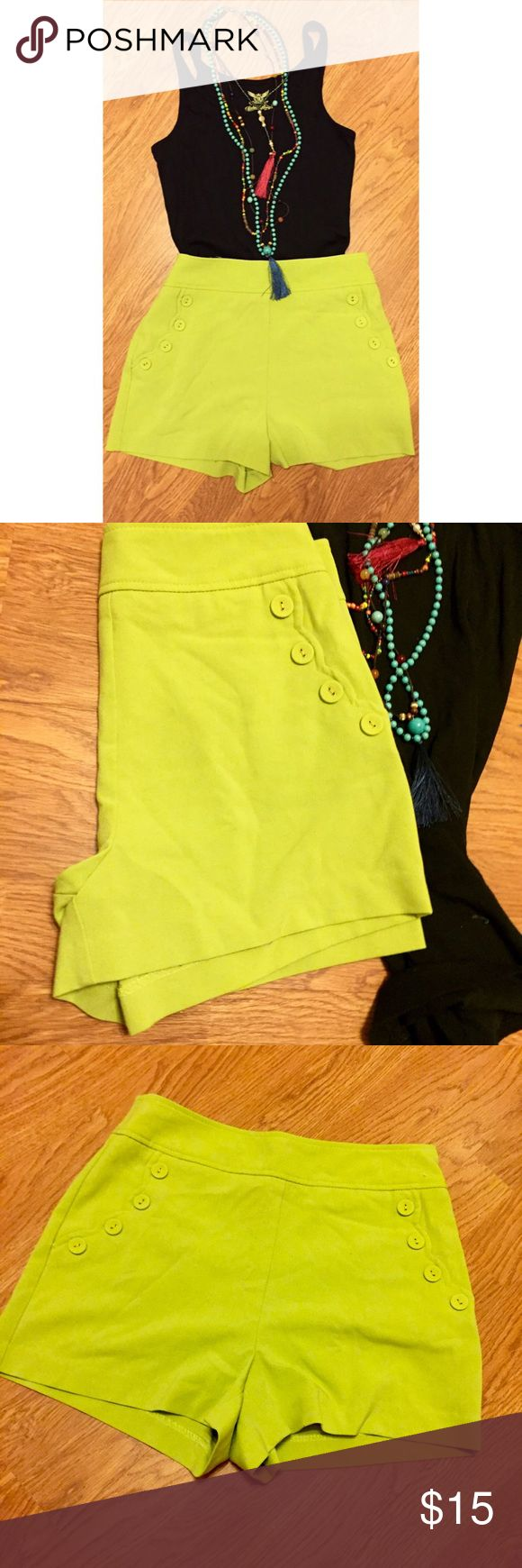 High waist green shorts OUTFIT ALERT!!  These bright green high waist shorts are the perfect item to mix match with any plan tank. The outfit featured is with a plan black tank and I dressed it up with a colorful necklace. The shorts are from Forever 21 and are a size Small. Forever 21 Shorts