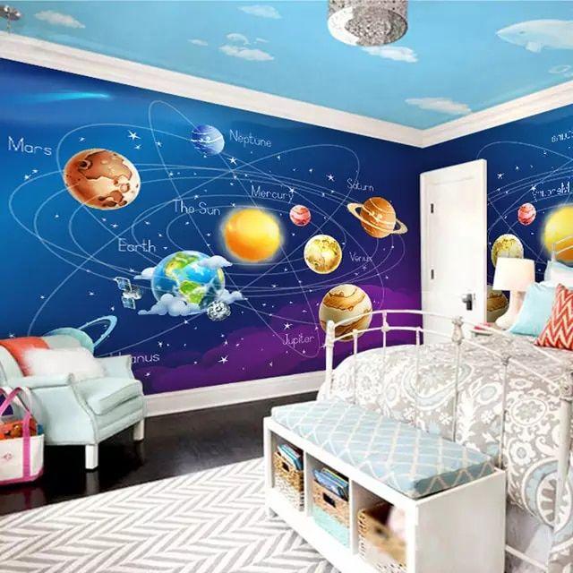 Papel Pintado Mural Personalizado 3d Dibujos Animados Planeta Sistema Sol Decoracion De Paredes Dormitorio Pinturas Para Dormitorios Decoracion Habitacion Nino
