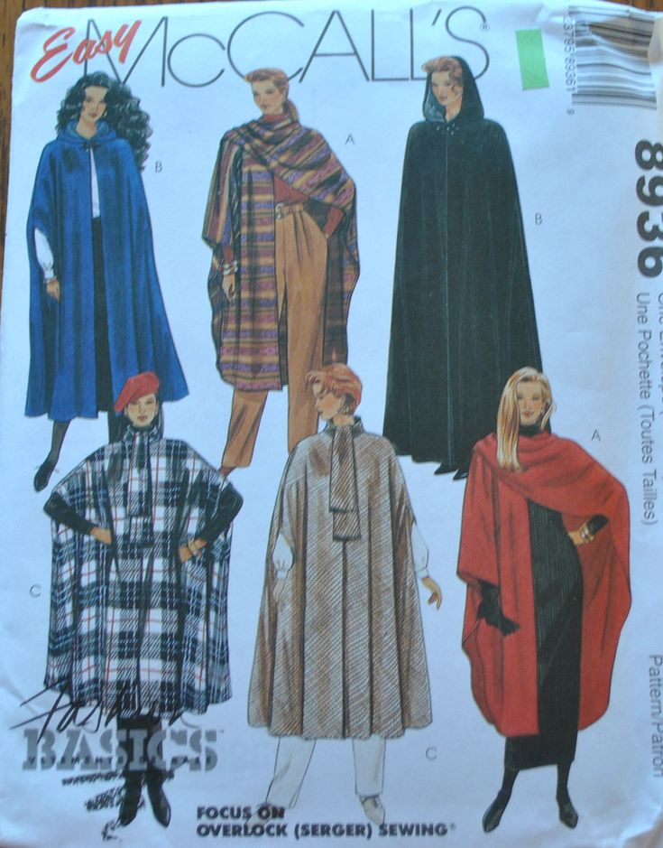 One Size, All Size, UNCUT, Vintage 1990s, McCalls 8936 Sewing Pattern, Misses Cape, Wrap Shawl, Renaissance costume, Coat, Cover Up