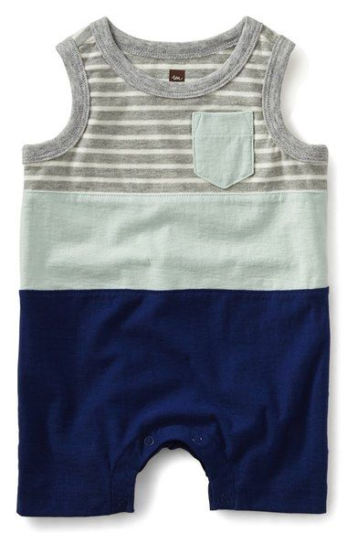 Tea Collection Stripe Color Block Romper (Baby Boys) available at #Nordstrom