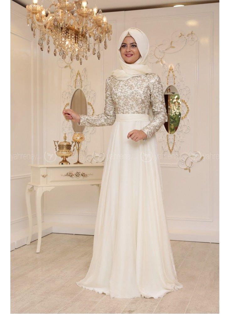 En Sik Tesettur Nikah Abiye Elbise Modellerisude Abiye Ekru Pinar Sems Wedding Dresses Lace Pretty Dresses Dresses
