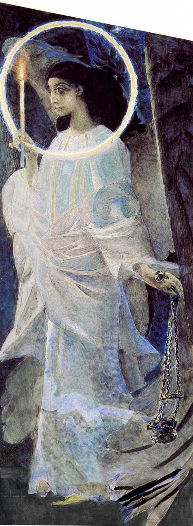 Михаил Врубель.     Ангел с кадилом и свечой.    Mikhail Vrubel.    Angel with censer and candle.