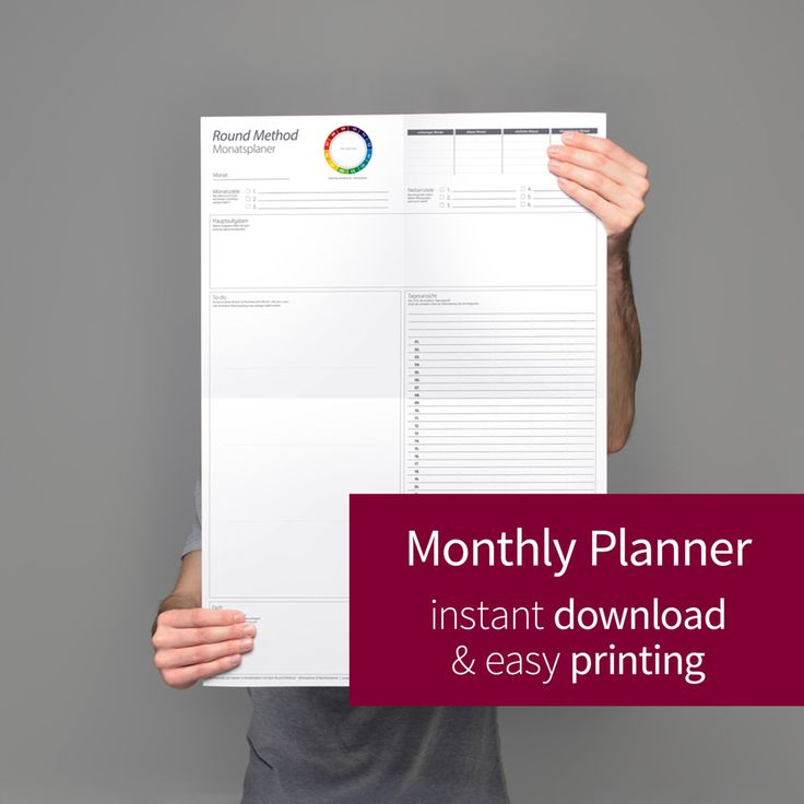Monthly Planner printable (digital - PDF), Monthly Planner 2017, Monthly Calendar, (A3, A2), Calendar 2017 von roundmethod auf Etsy