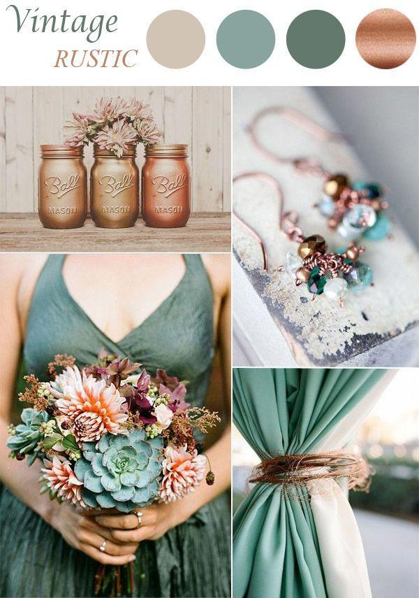 sage and brown vintage wedding color scheme || Bella Collina Weddings