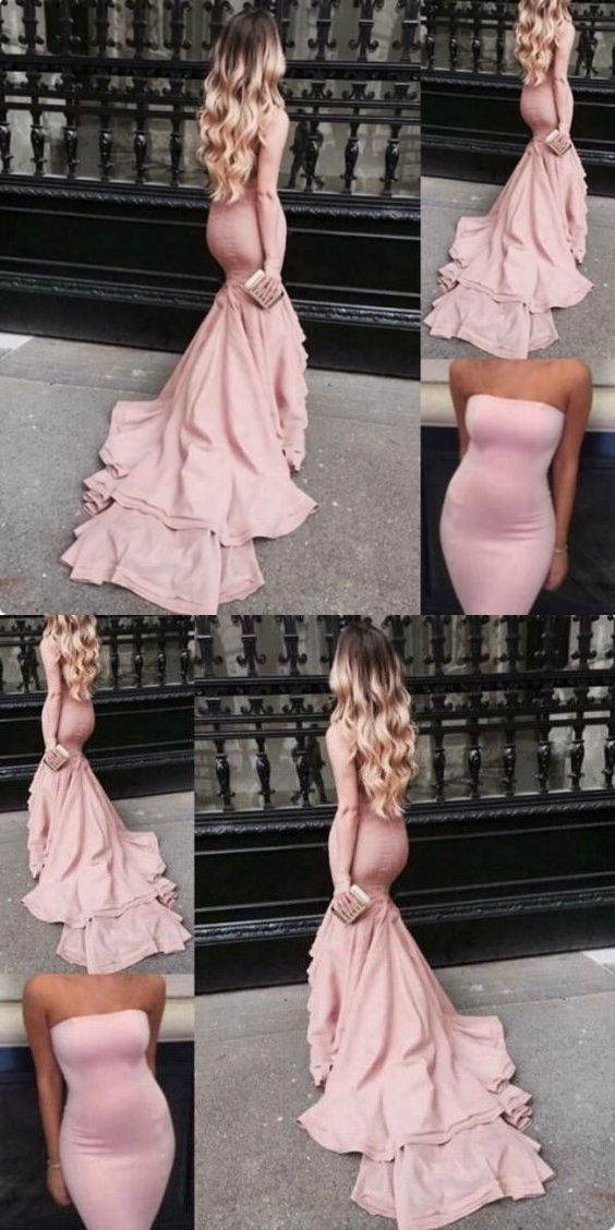 ab5e20e5f6 Blush Pink Prom Dresses Mermaid Strapless Satin Bodycon Evening Gowns With Court  Train Tight Long Special Occasions Dress