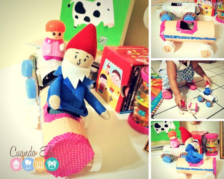 Manualidad infantil :Carritos de Tubo de Cartón, con material reciclado
