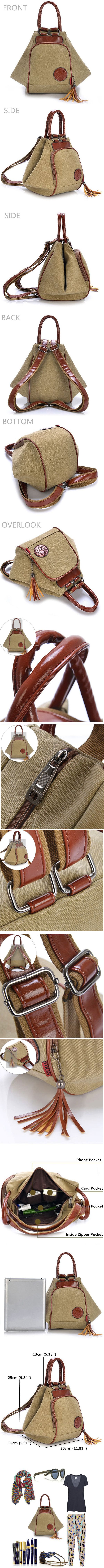 Women Men Canvas Tassel Backpack Casual Diagonal Handbags Multi Functional Shoulder Bags