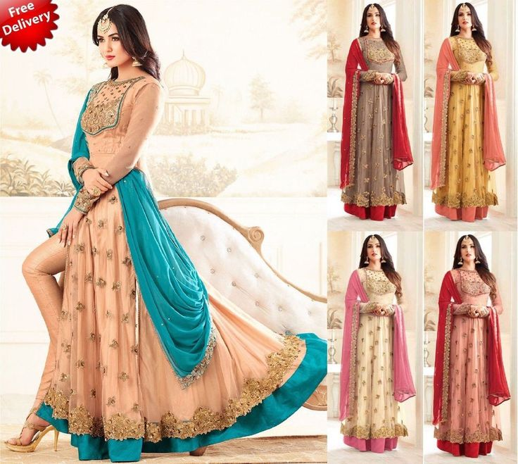 Indian Pakistani Ethnic Anarkali Salwar Kameez Designer Suit Wedding Dreeses #krishacreation