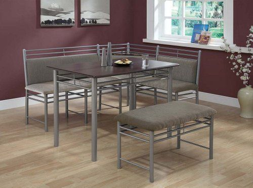 monarch specialties cappuccino finish wood and silver metal corner dining set 3piece by