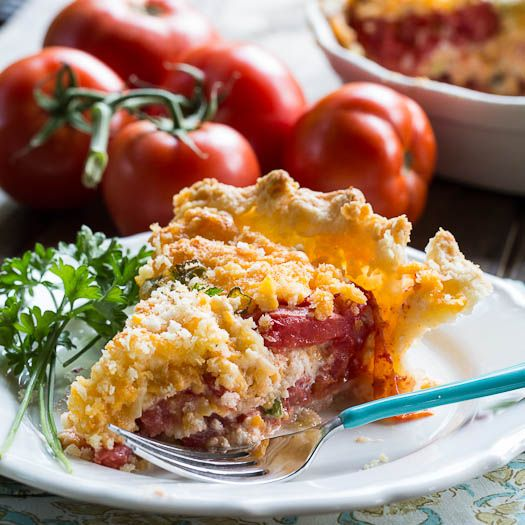 tomato pie 1c. shredded cheddar, 1c mayo, 1T parsley, 2 green onions chopped, 1T grated parmesan,, 1c panko, mix together. 1 1/2 lb tomatoes sliced thick,layer ingredients in pie shell  Bake 425 for 30 minutes.I would parbake the pie shell