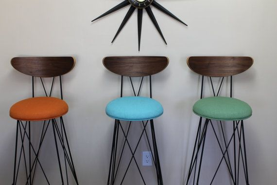 "Mid century style iron bar stool with back, bar height 30""  Eames bend wire style on Etsy by RetroEvolutionDesign"