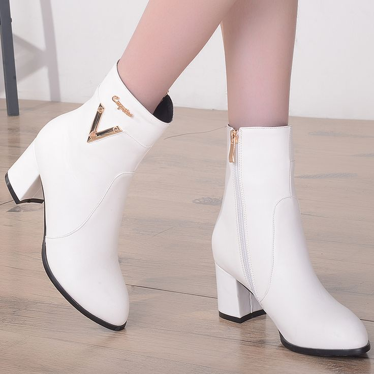 Plus size 33 to 43 women fashion white high heel boots with side zipper botas mulheres female pu leather casual boots lady shoes