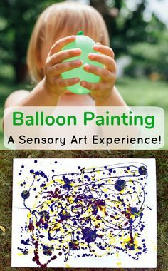 Balloon Painting; A Sensory Art Experience. By squeezing the paint balloons you apply paint to make some beautiful textures and patterns.