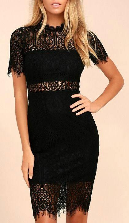 f909ccc7c9926d Lulus | Remarkable Black Lace Dress | Size Large | 100% Polyester in 2019 |  Best of New | Dresses, Lace dress black, Fashion