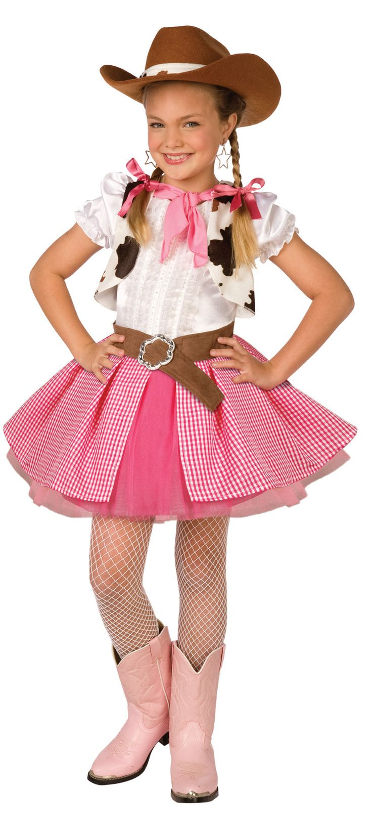 Cowgirl dress with vest, neck kerchief, and hat. Girl's small fits sizes 4-6.