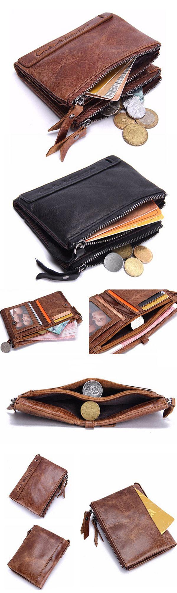 Men Genuine Leather Zipper Short Wallet Folding Totes Card Holders Bags