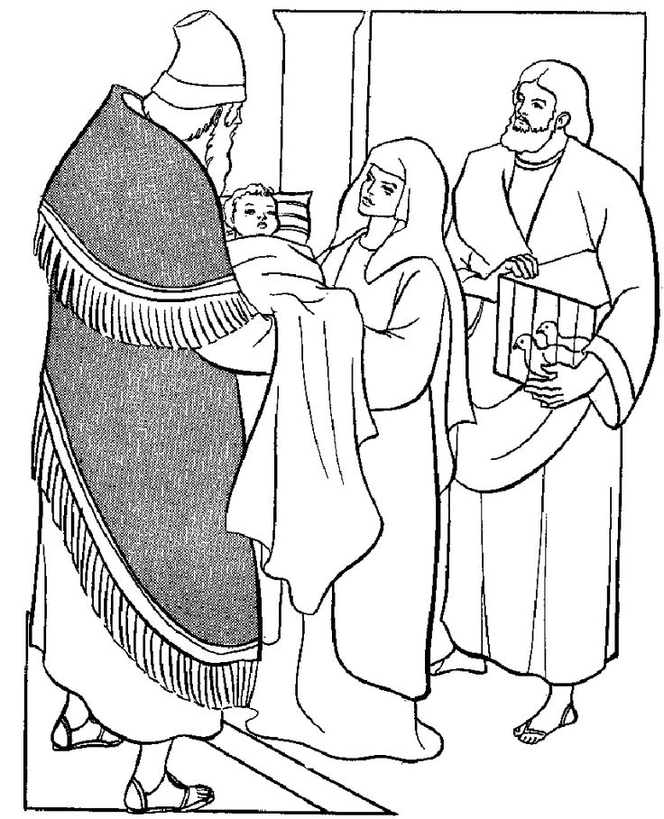 Coloring Page For The Presentation Of Our Lord In Temple Meeting Anna And Simeon