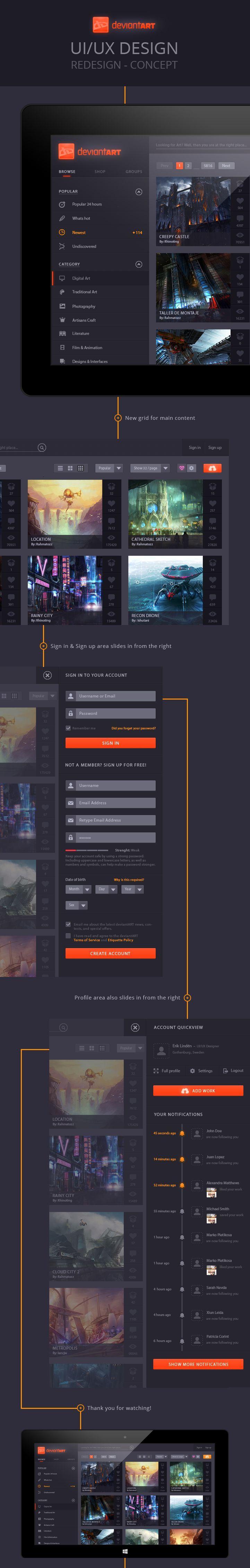 Interface de publication d'image complexe mais flat design. Photo management deviantART – Concept