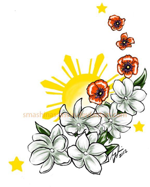 filipino sun and stars and national flower