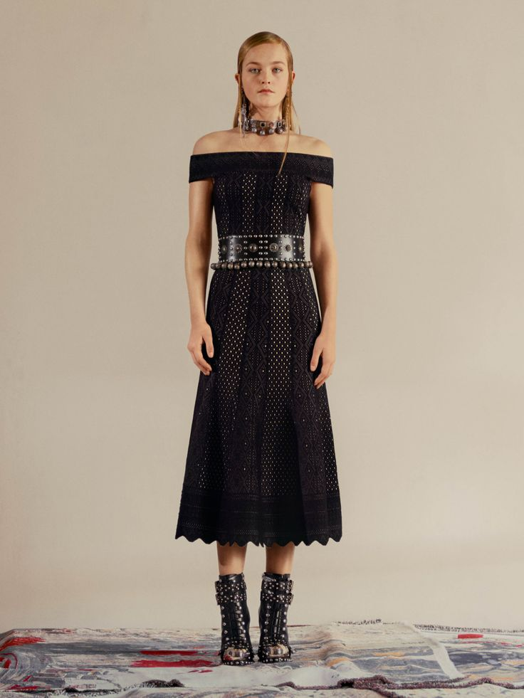 Shop Women's Off The Shoulder Jacquard Lace Dress from the official online  store of iconic fashion designer Alexander McQueen.