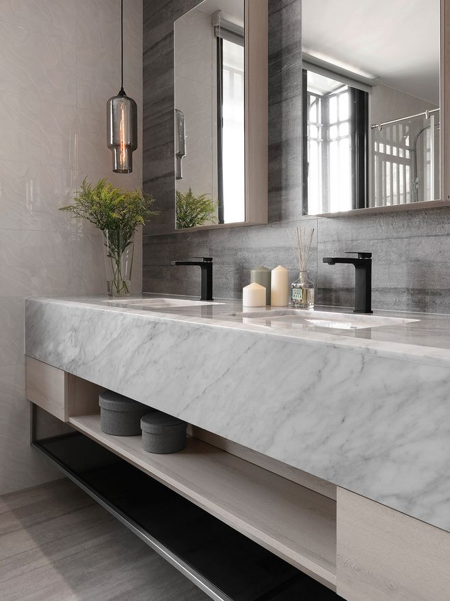 | INTERIOR + BATHROOMS | for a contemporary look, marble countertops with under mount sinks and open shelving below