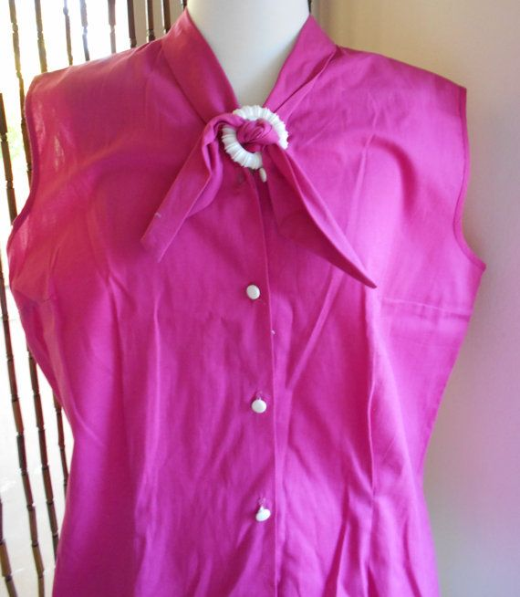 Vintage 1950s hot pink sleeveless cotton blouse with Pussy Bow by NinasVintageCloset on Etsy